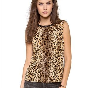 Milly Leopard Animal Print Leather Shell Top 4